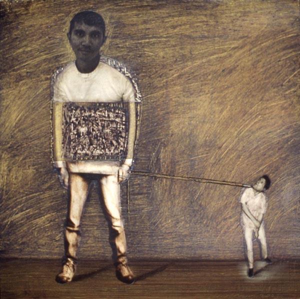 """Boy with Man on a Leash - 12"""" x 12"""""""