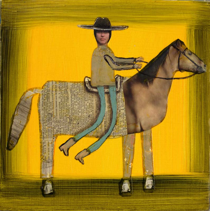 "Woman Riding with Blue Legs 2020 - 10"" x 10"""